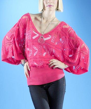 Dolce Cabo Guava Pink Chevron Dolman Sweater - Women