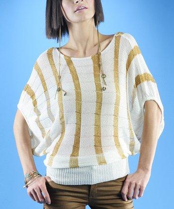 Dolce Cabo White & Gold Stripe Dolman Sweater - Women