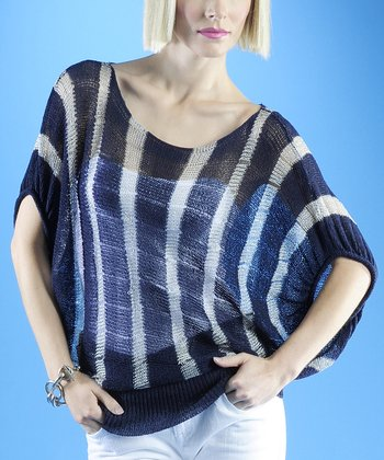 Dolce Cabo Navy & Silver Stripe Dolman Sweater - Women