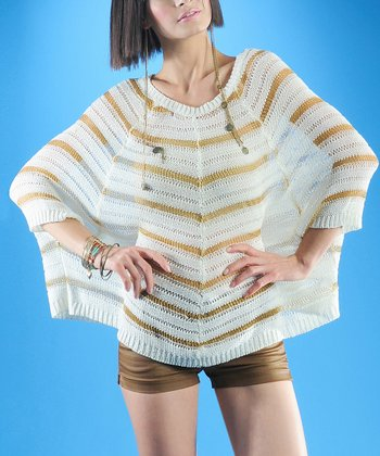 Dolce Cabo White & Gold Stripe Relaxed Dolman Sweater - Women