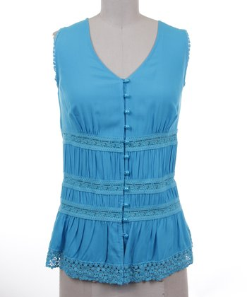 Dolce Cabo Blue Lace Linen-Blend Sleeveless Button-Up - Women
