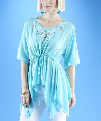 Dolce Cabo Aqua & White Linen-Blend Sidetail Top - Women