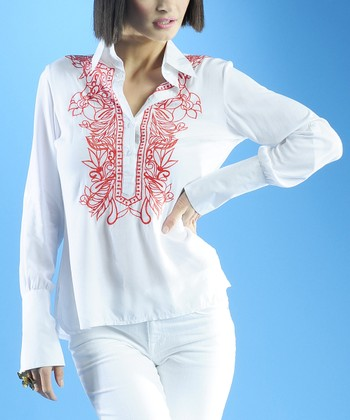 Dolce Cabo White & Red Linen Henley Top - Women