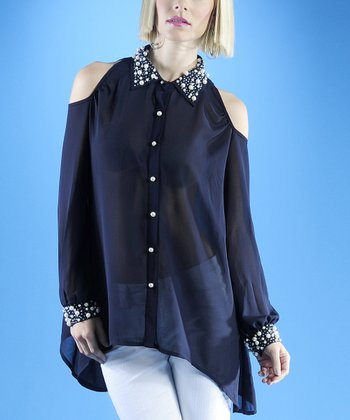 Dolce Cabo Navy Sheer Embellished Cutout Top - Women
