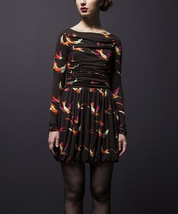 Leota Black & Pink Hummingbird Bubble Dress