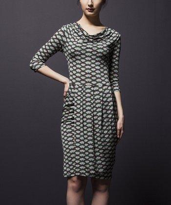 Leota White & Black Fan Ava Drape Dress