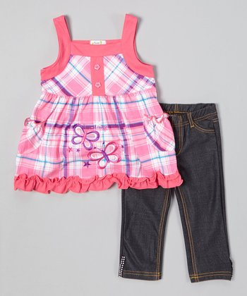 Pink Butterfly Plaid Top & Jeggings - Toddler & Girls