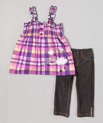 Fuchsia 'Princess' Plaid Top & Jeggings - Toddler & Girls