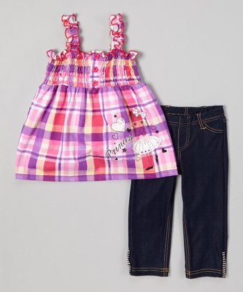Purple 'Princess' Plaid Top & Jeggings - Toddler & Girls