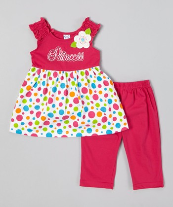 Fuchsia Polka Dot Top & Capri Leggings - Infant, Toddler & Girls