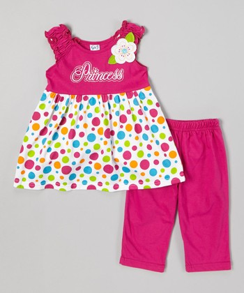 Raspberry Polka Dot Top & Capri Leggings - Infant, Toddler & Girl