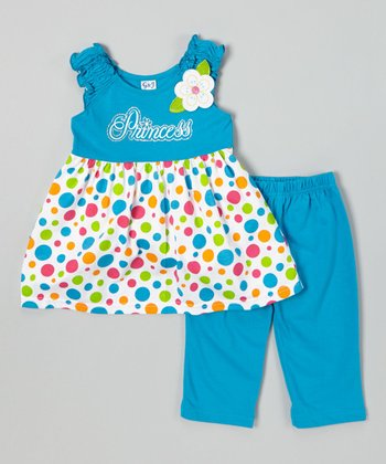 Turquoise Polka Dot Top & Capri Leggings - Infant, Toddler & Girl