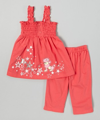 Coral Poodle Top & Capri Leggings - Toddler & Girls