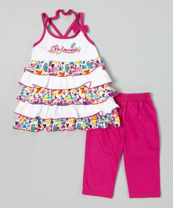 Fuchsia Tiered Ruffle Top & Capri Leggings - Toddler & Girls