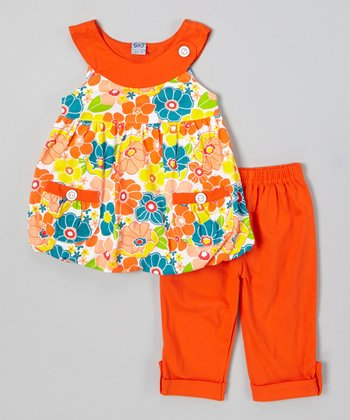 Orange Floral Bubble Top & Capri Pants - Infant, Toddler & Girls