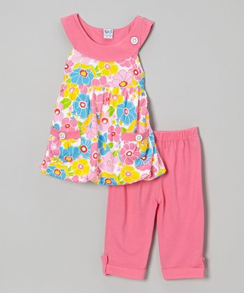Pink Floral Bubble Top & Capri Pants - Infant, Toddler & Girls