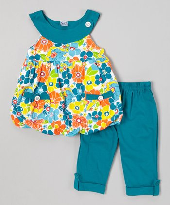 Teal Floral Bubble Top & Capri Pants - Infant, Toddler & Girls
