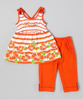 Orange Stripe Top & Capri Pants - Infant, Toddler & Girls