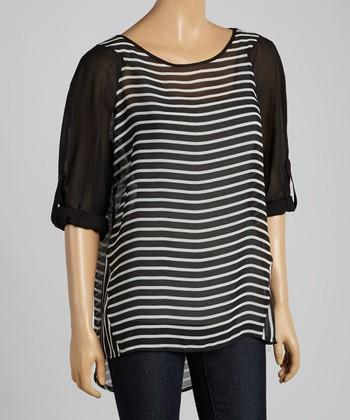 Tacera Black & White Stripe Tab-Sleeve Hi-Low Top