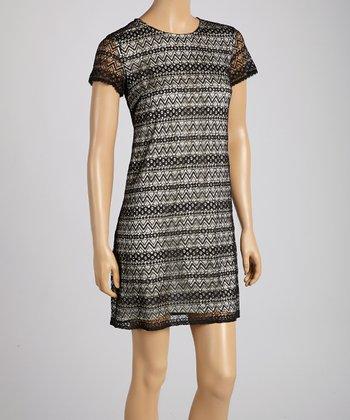 Pippa Black & White Zigzag Shift Dress