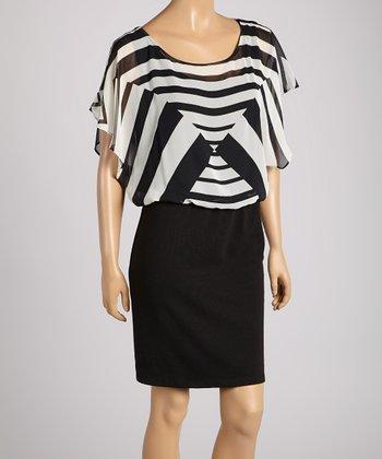 HĀLO by Heart Soul Black & White Stripe Cape-Sleeve A-Line Dress