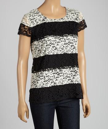 ADIVA Black & White Stripe Lace Cap-Sleeve Top