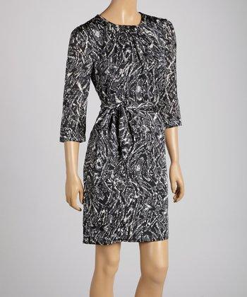 Pippa Black & Gray Waist-Tie Shift Dress
