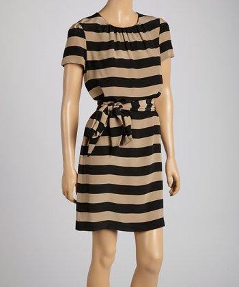 Pippa Black & Sand Stripe Waist-Tie Shift Dress