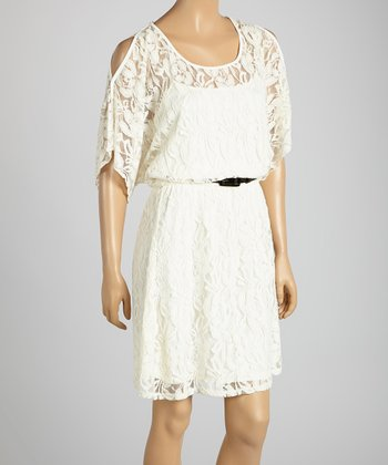 HĀLO by Heart Soul Stone Lace Belted Cutout Dress