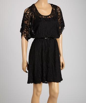 HĀLO by Heart Soul Black Lace Belted Cutout Dress