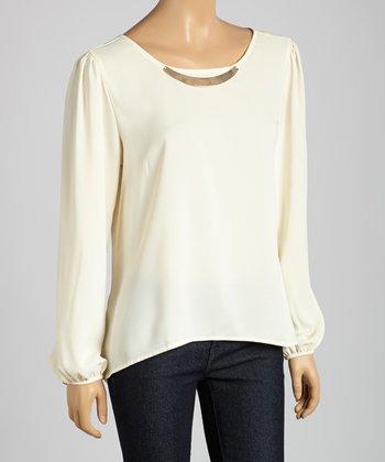 ADIVA Off-White Embellished Boatneck Top