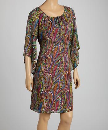 Tacera Green & Fuchsia Paisley Cape-Sleeve Shift Dress