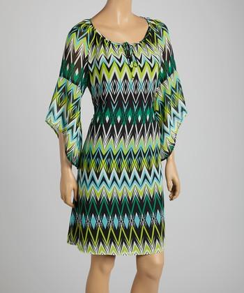 Tacera Green & Black Tribal Cape-Sleeve Shift Dress