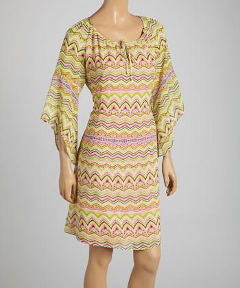 Tacera Pink & Yellow Aztec Cape-Sleeve Shift Dress
