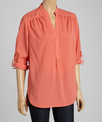 Tacera Coral Tab-Sleeve Button-Up Top