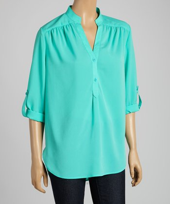 Tacera Mint Tab-Sleeve Button-Up Top