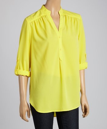 Tacera Sunshine Tab-Sleeve Button-Up Top