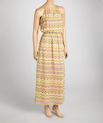 Tacera Pink & Yellow Aztec Maxi Dress