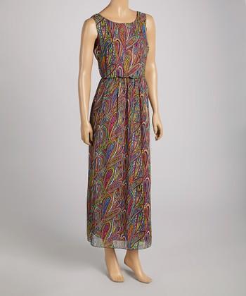 Tacera Green & Fuchsia Paisley Maxi Dress
