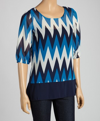 Tovia Royal Blue & White Zigzag Three-Quarter Sleeve Top