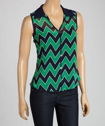 Tovia Jade & Navy Zigzag Sleeveless Button-Up