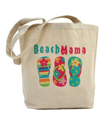 Natural 'Beach Mama' Tote Bag