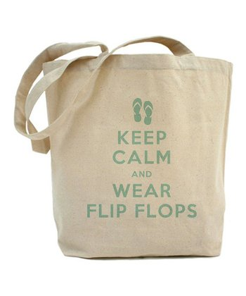 Natural 'Keep Calm And Wear Flip Flops' Tote Bag