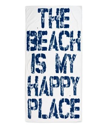 White 'Happy Place' Beach Throw