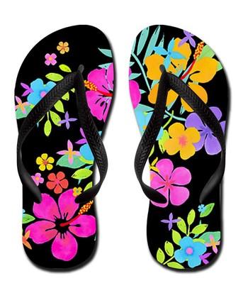 Black Tropical Flowers Flip-Flop