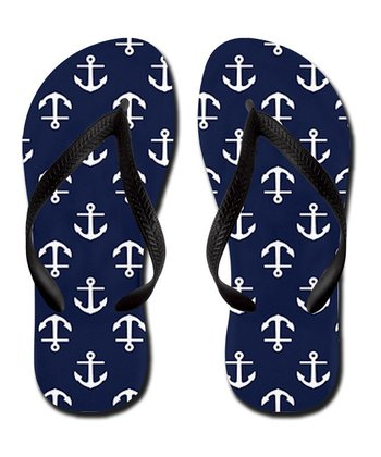 Navy Anchor Flip-Flop