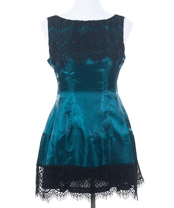 Ju's Green Moonlight Lace Sleeveless Dress