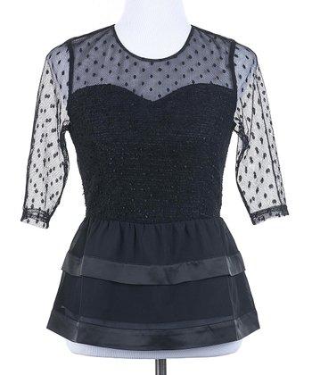 Ju's Black Vintage Lace Wool-Blend Peplum Top