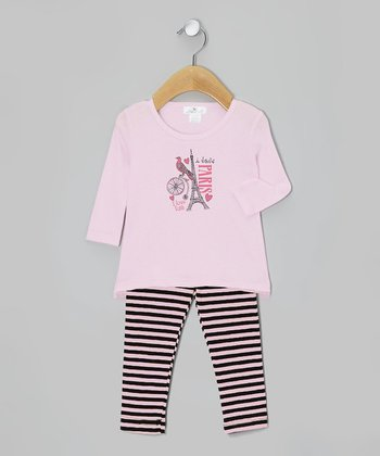 Pink 'I Love Paris' Tunic & Stripe Leggings - Infant