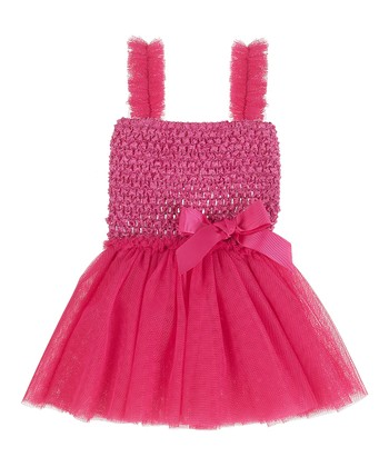 GANZ Dark Pink Crocheted Babydoll Dress
